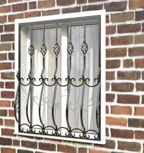 Фото 17 - Дутая решетка на окна ДТ0025.