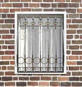 Фото 14 - Кованая решетка на окно КР-0021.