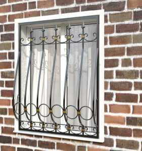 Фото 15 - Кованая решетка на окно КР-0021.
