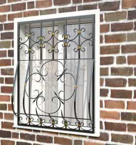 Фото 17 - Кованая решетка на окно КР-0023.