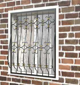 Фото 13 - Кованая решетка на окно КР-0027.