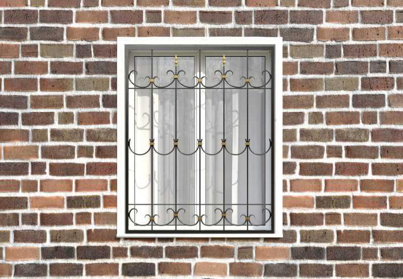 Фото 1 - Кованая решетка на окно КР-0013.