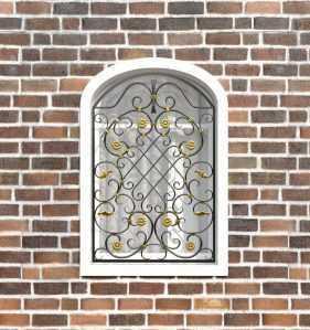 Фото 30 - Кованая решетка на окно КР-0037.