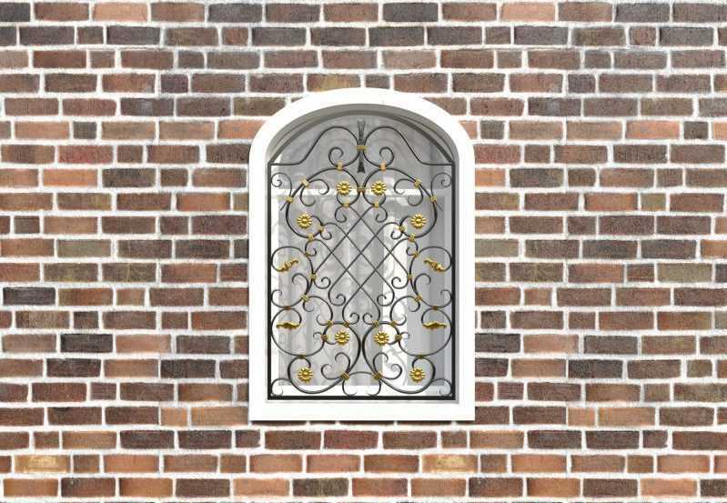 Фото 1 - Кованая решетка на окно КР-0037.