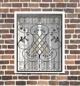 Фото 32 - Кованая решетка на окно КР-0040.