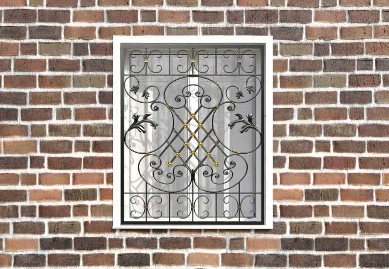 Фото 1 - Кованая решетка на окно КР-0040.