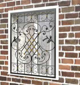 Фото 80 - Кованая решетка на окно КР-0040.