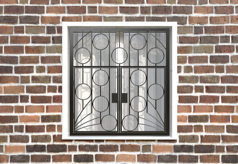 Фото 1 - Распашная решетка на окно РР-0011.