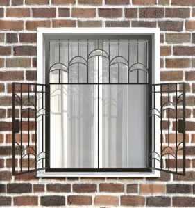 Фото 10 - Распашная решетка на окно РР-0013.