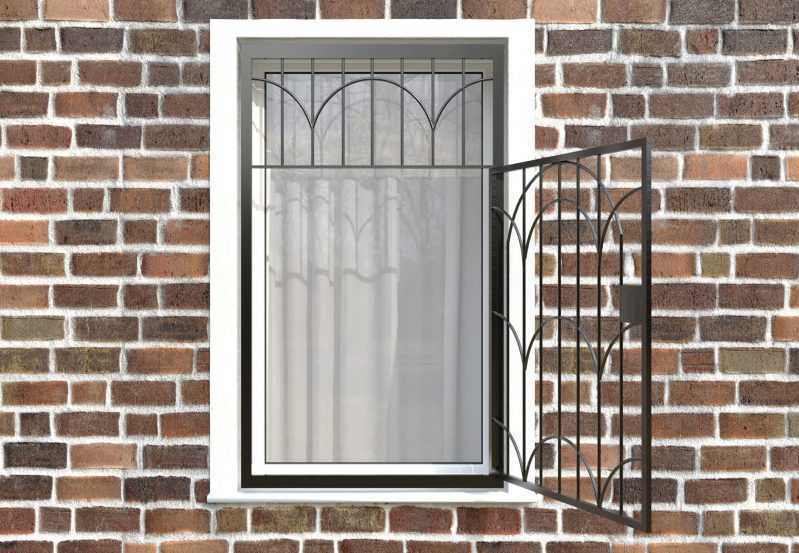 Фото 2 - Распашная решетка на окно РР-0033.