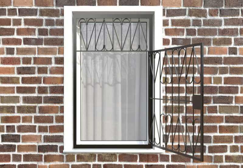 Фото 2 - Распашная решетка на окно РР-0032.